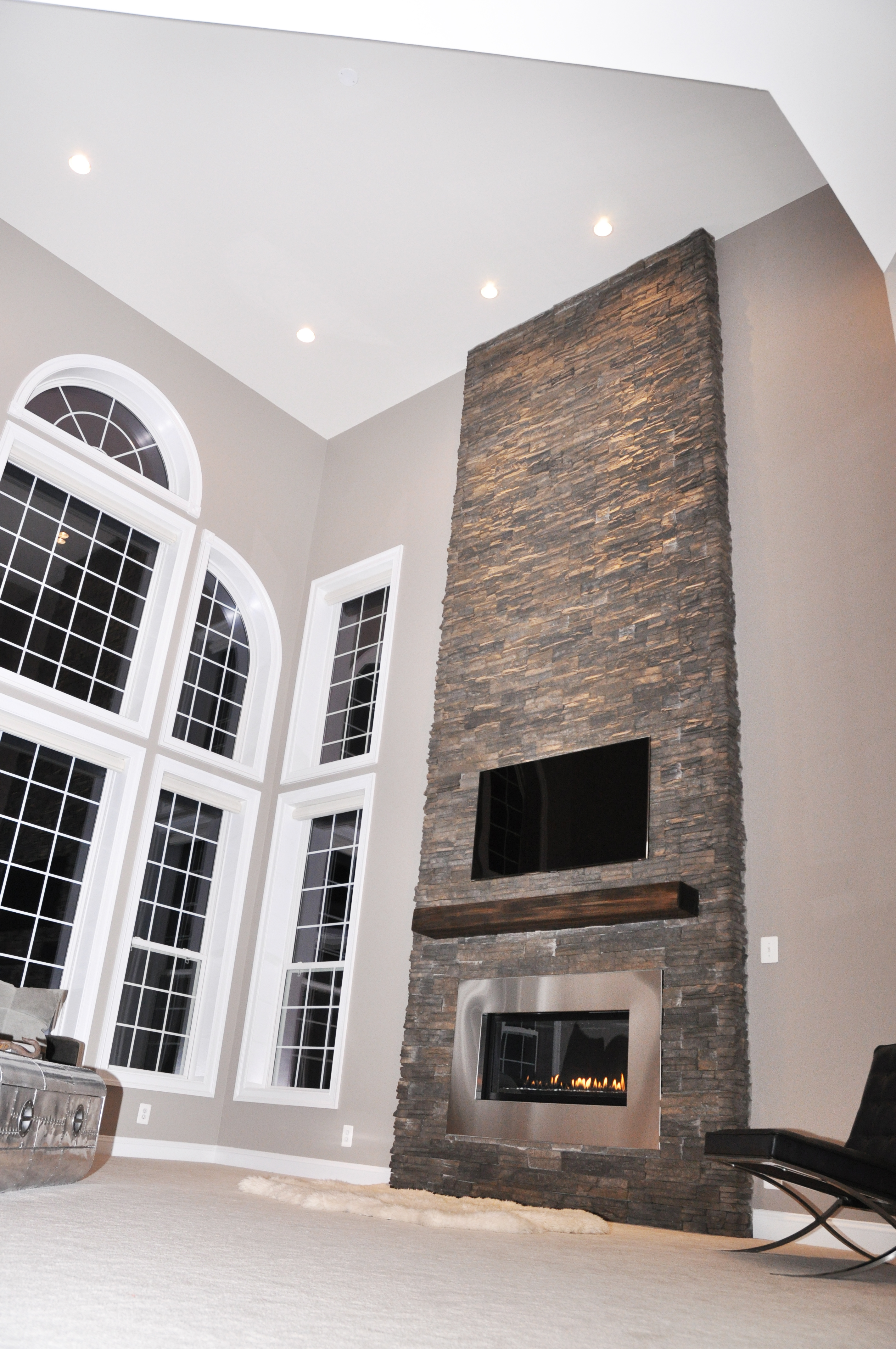 Modern fireplace renovation - Floor to ceiling fireplace ...
