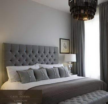 Diamond tufted headboard for Bedroom ideas dark grey