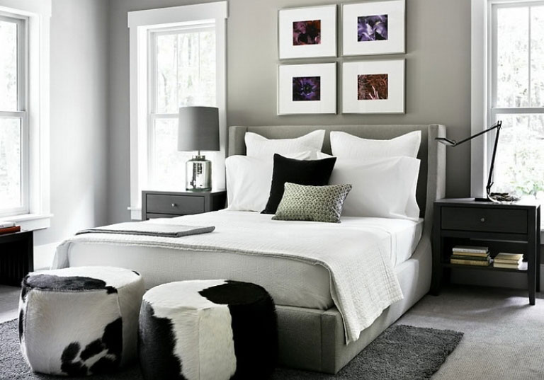 Mad cowhide craze for White and grey bedroom designs