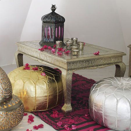 nate berkus gold metallic moroccan pouf. Black Bedroom Furniture Sets. Home Design Ideas